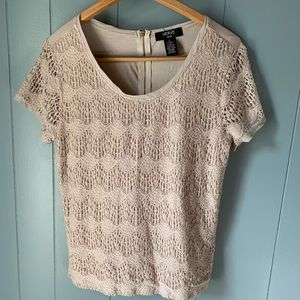 🖤 3/$10 Nude blouse with knit overlay